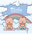 baby shower little boy and girl with teddy bear vector image vector image