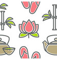 beauty and spa lotus and bamboo teapot and cup vector image vector image