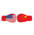 boxing gloves with usa and china flags vector image vector image