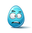 cartoon funny cute crazy egg sad smiley vector image