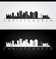christchurch skyline and landmarks silhouette vector image vector image