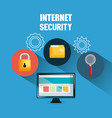 computer display with internet security icons vector image vector image