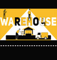 creative word concept warehouse and people doing vector image