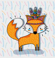 cute fox animal tribal and feathers vector image vector image