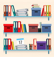 documents and folders on shelves set vector image vector image