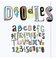 Doodle alphabet font notebook vector image vector image