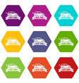 eco car icons set 9 vector image vector image