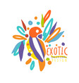 exotic logo original design with colorful bird vector image