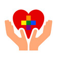 flag pride lgbt in heart with hand vector image