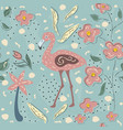 flamingo bird and toucan seamless pattern vector image