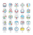 flat icons of digital and internet marketing vector image vector image
