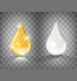 gold oil and white cream drops isolated vector image