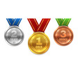 gold silver bronze medals winner shiny circle vector image vector image
