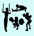 gymnastic and ring sport silhouette vector image vector image
