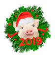 Happy new year banner 2019 animal symbol tex