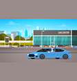 happy owner driving new car over dealership center vector image vector image