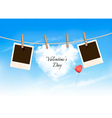 Heart shaped cloud on rope and photos Valentines vector image vector image