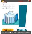 letter i worksheet with cartoon iceberg object