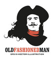 man mustached and long hair to wind wearing vector image vector image