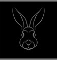 outline stylized rabbit portrait on black vector image vector image