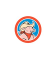 Pig Cowboy Head Circle Cartoon vector image vector image