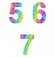 Rainbow sketch font set - numbers 5 6 7 vector image vector image