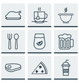 set of 9 food icons includes chicken fry bowl vector image vector image