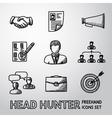 Set of handdrawn Head Hunter icons - handshake vector image