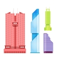 Skyscrapers icons set in detailed flat style vector image vector image