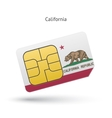 State of California phone sim card with flag vector image vector image