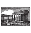 temple of minerva in athens famous places in vector image vector image