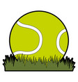 tennis ball with grass vector image vector image