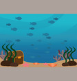underwater landscape with school of fishes vector image