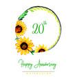 watercolor floral happy anniversary wreath