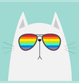 white cat wearing sunglasses eyeglasses rainbow vector image