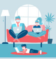 whole family working on laptops sitting on a sofa vector image vector image