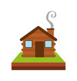 wooden cabin house chimney camp grass vector image vector image