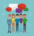 young people with blank chat bubbles vector image