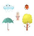 a set of autumn characters vector image vector image