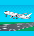 airplane landing pop art vector image