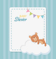 bashower square card with little bear teddy in vector image vector image
