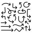 black flat arrows hand drawn elements vector image vector image