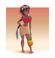 black girl pineapple and a machete is standing vector image