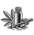 cannabis oil in engraving style vector image
