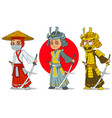 cartoon ninja samurai with sword characters set vector image vector image