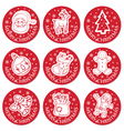christmas round cards set vector image vector image