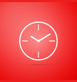 clock icon isolated on red background vector image vector image