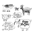 collection of happy new year design with goat or vector image