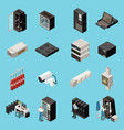 datacenter isometric icon set vector image vector image