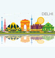 delhi india skyline with color buildings blue sky vector image vector image
